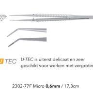Pincet Micro 0.6mm U-tec gebogen diamant